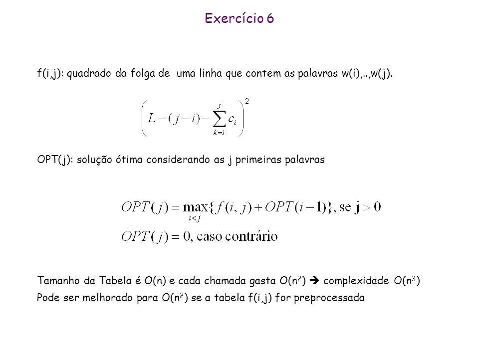Exercício 6 f(i,j): quadrado da folga de uma linha que contem as palavras w(i),..,w(j). OPT(j): solução ótima considerando as j primeiras palavras.