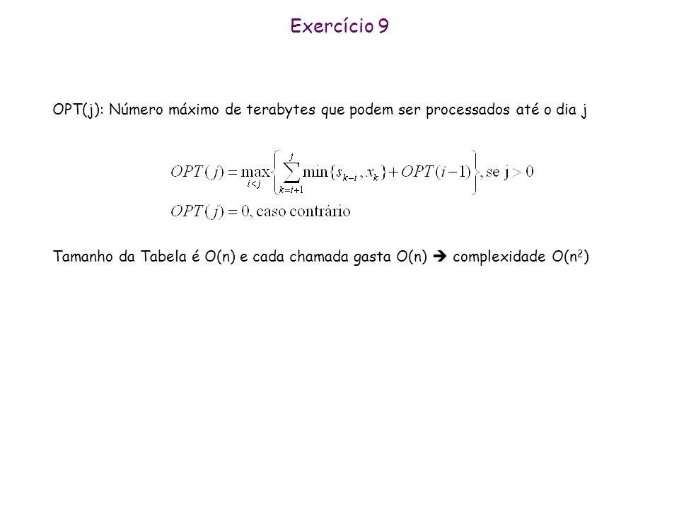 Exercício 9 OPT(j): Número máximo de terabytes que podem ser processados até o dia j.