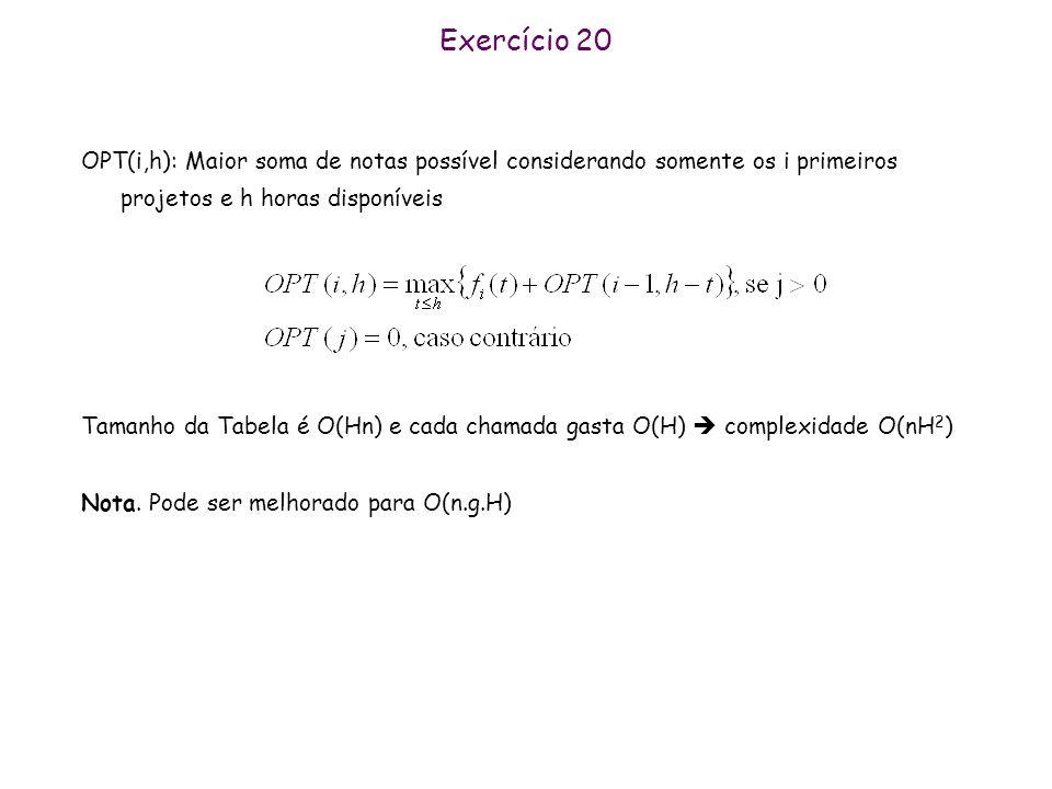 Exercício 20 OPT(i,h): Maior soma de notas possível considerando somente os i primeiros projetos e h horas disponíveis.