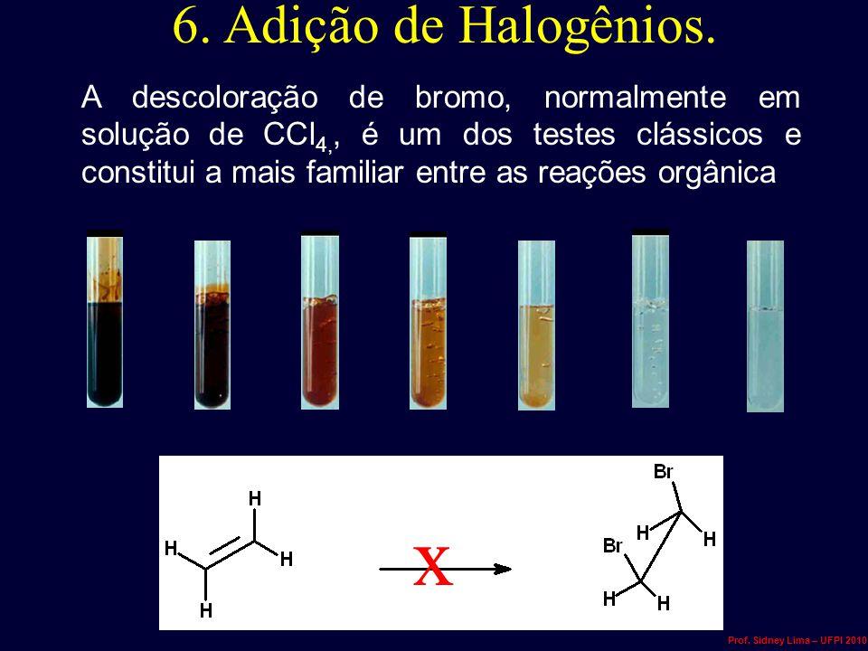 6. Adição de Halogênios.