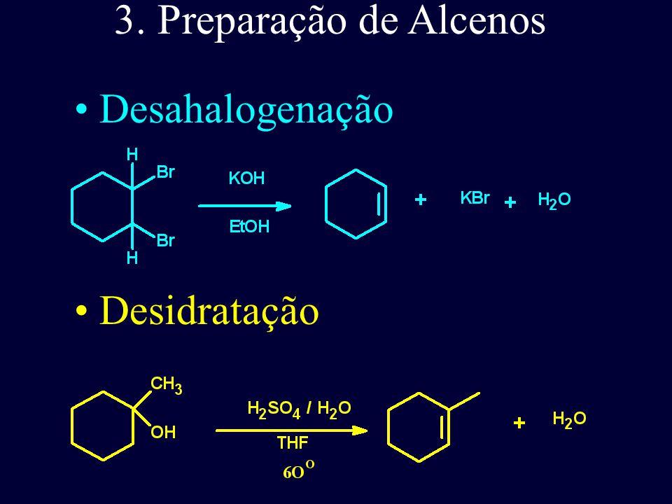 3. Preparação de Alcenos Desahalogenação Desidratação