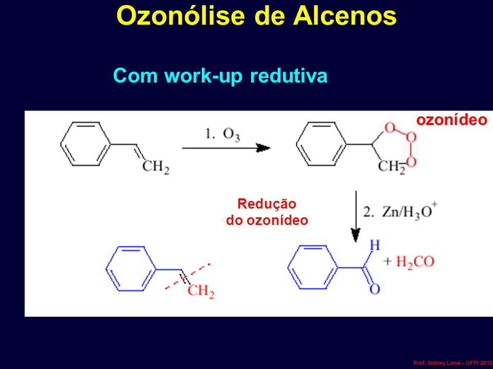 Ozonólise de Alcenos Com work-up redutiva ozonídeo Redução do ozonídeo