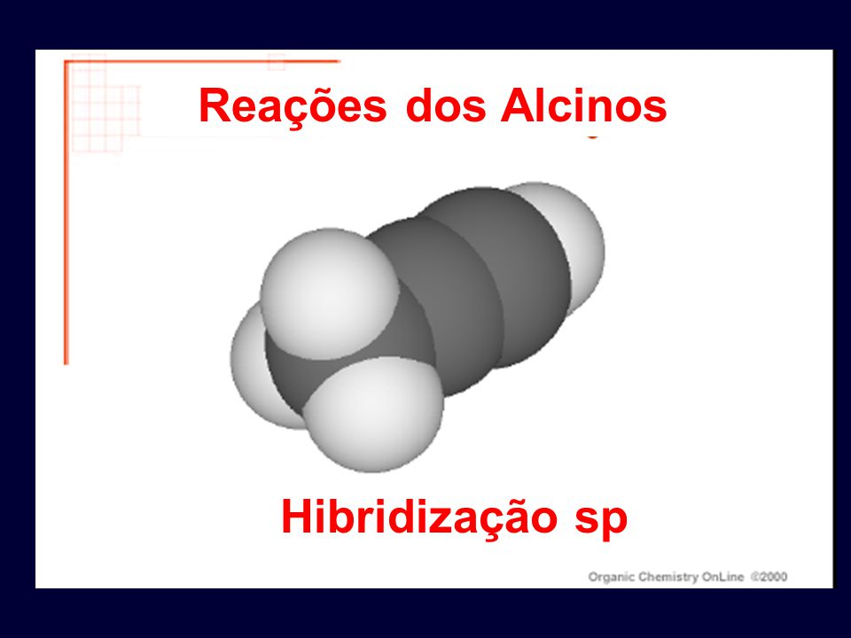Reações dos Alcinos Hibridização sp