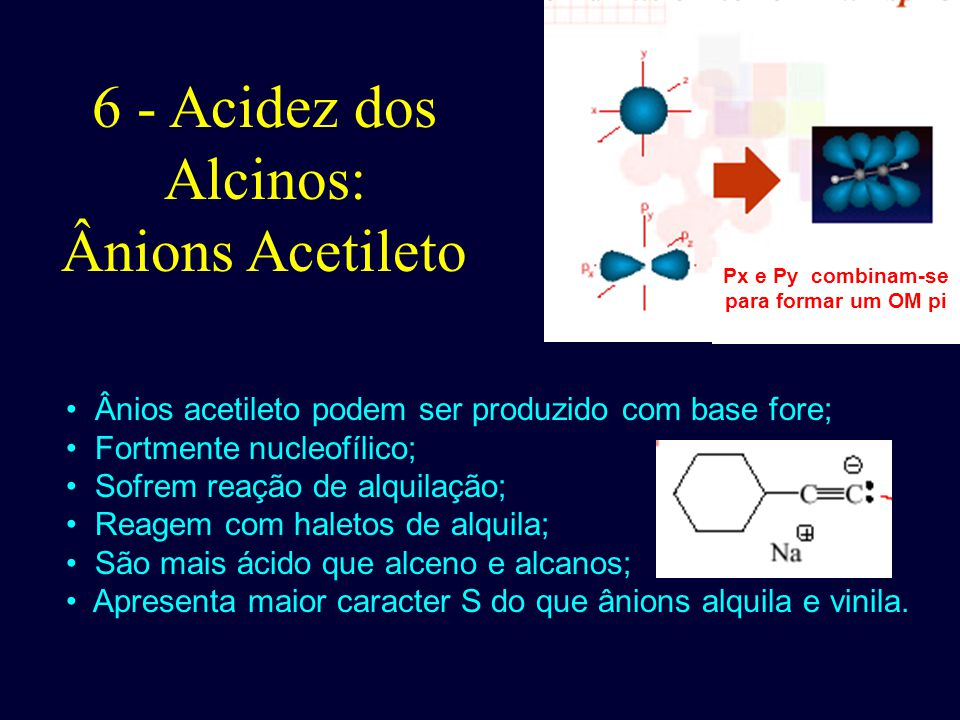 6 - Acidez dos Alcinos: Ânions Acetileto