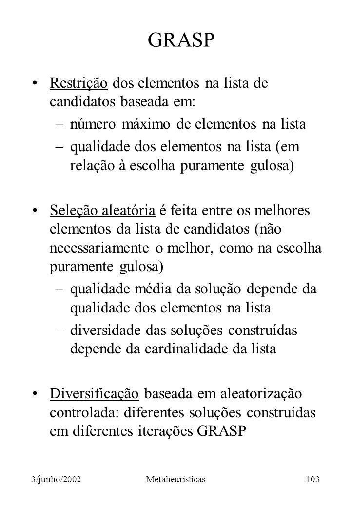 GRASP Restrição dos elementos na lista de candidatos baseada em: