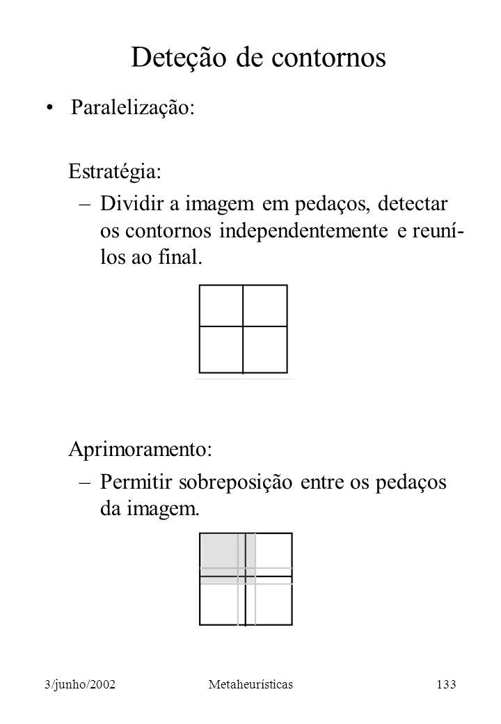 Deteção de contornos Paralelização: Estratégia: