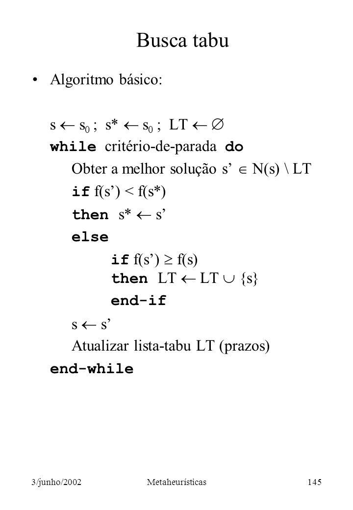 Busca tabu Algoritmo básico: s  s0 ; s*  s0 ; LT  