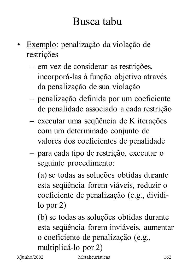 Busca tabu Exemplo: penalização da violação de restrições