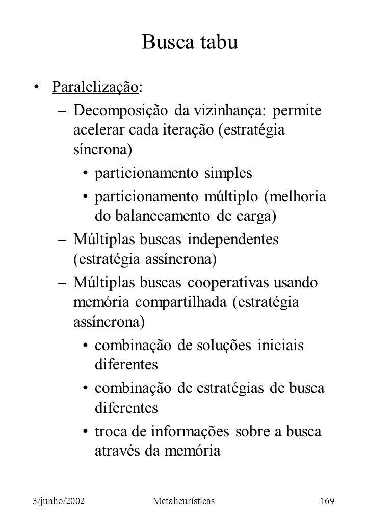 Busca tabu Paralelização: