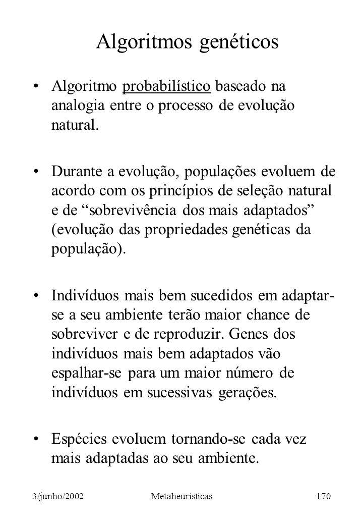 Algoritmos genéticos Algoritmo probabilístico baseado na analogia entre o processo de evolução natural.