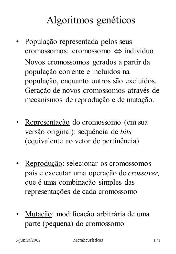 Algoritmos genéticos População representada pelos seus cromossomos: cromossomo  indivíduo.