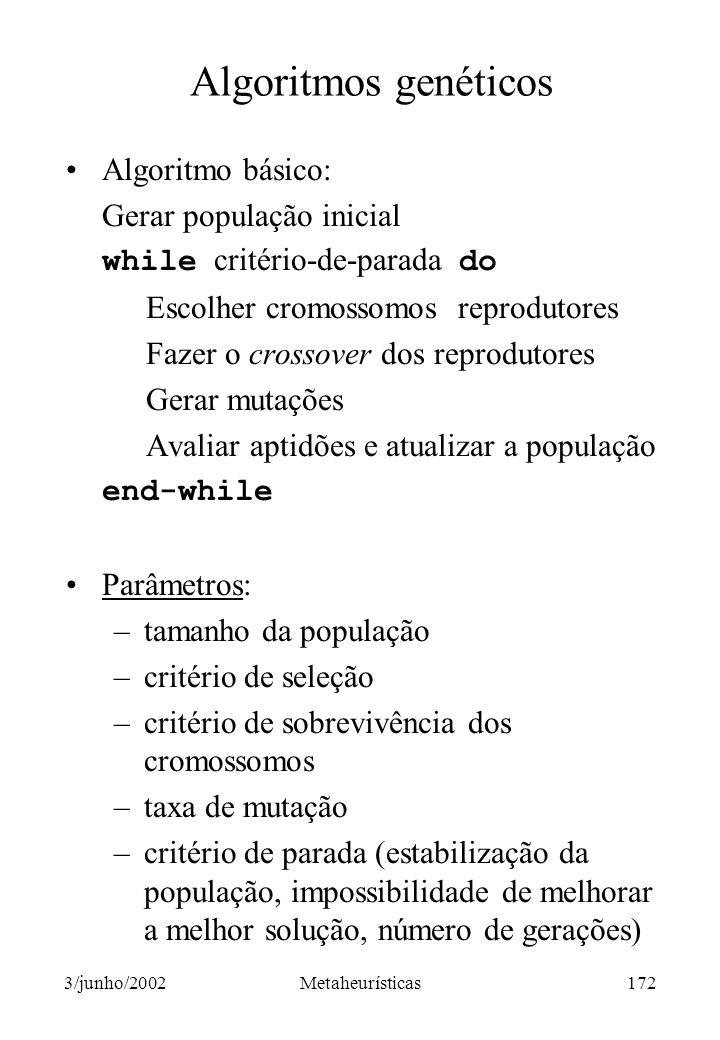 Algoritmos genéticos Algoritmo básico: Gerar população inicial