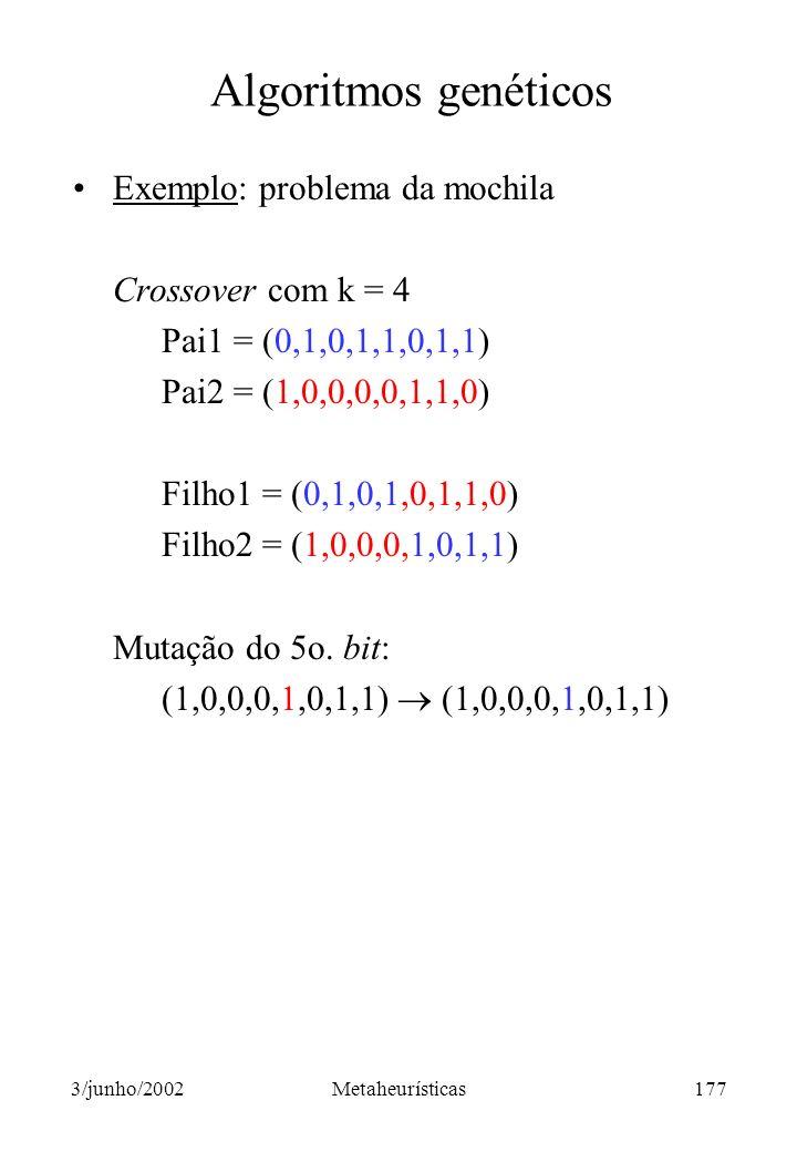 Algoritmos genéticos Exemplo: problema da mochila Crossover com k = 4