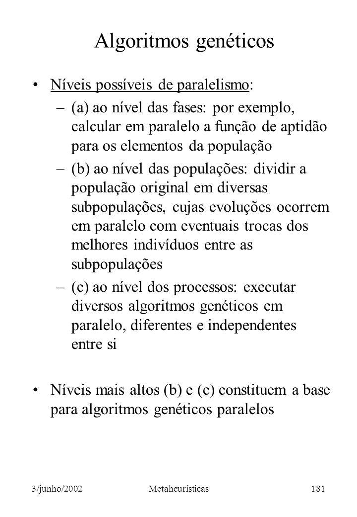 Algoritmos genéticos Níveis possíveis de paralelismo: