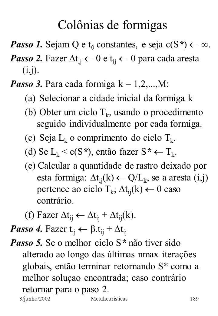 Colônias de formigas Passo 1. Sejam Q e t0 constantes, e seja c(S*)  . Passo 2. Fazer tij  0 e tij  0 para cada aresta (i,j).