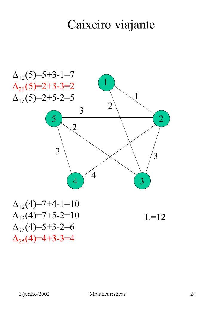 Caixeiro viajante 12(5)=5+3-1=7 23(5)=2+3-3=2 13(5)=2+5-2=5 5 4 3 2
