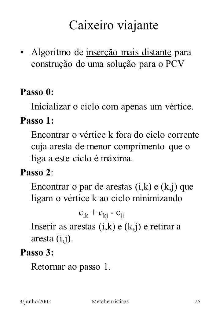 Caixeiro viajante Algoritmo de inserção mais distante para construção de uma solução para o PCV. Passo 0: