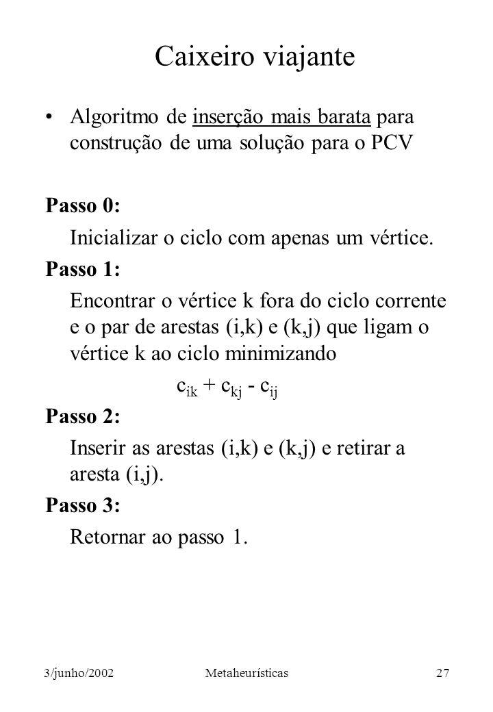 Caixeiro viajante Algoritmo de inserção mais barata para construção de uma solução para o PCV. Passo 0: