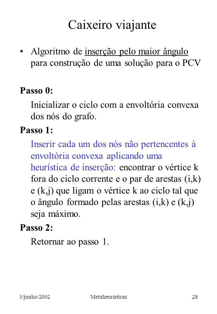 Caixeiro viajante Algoritmo de inserção pelo maior ângulo para construção de uma solução para o PCV.