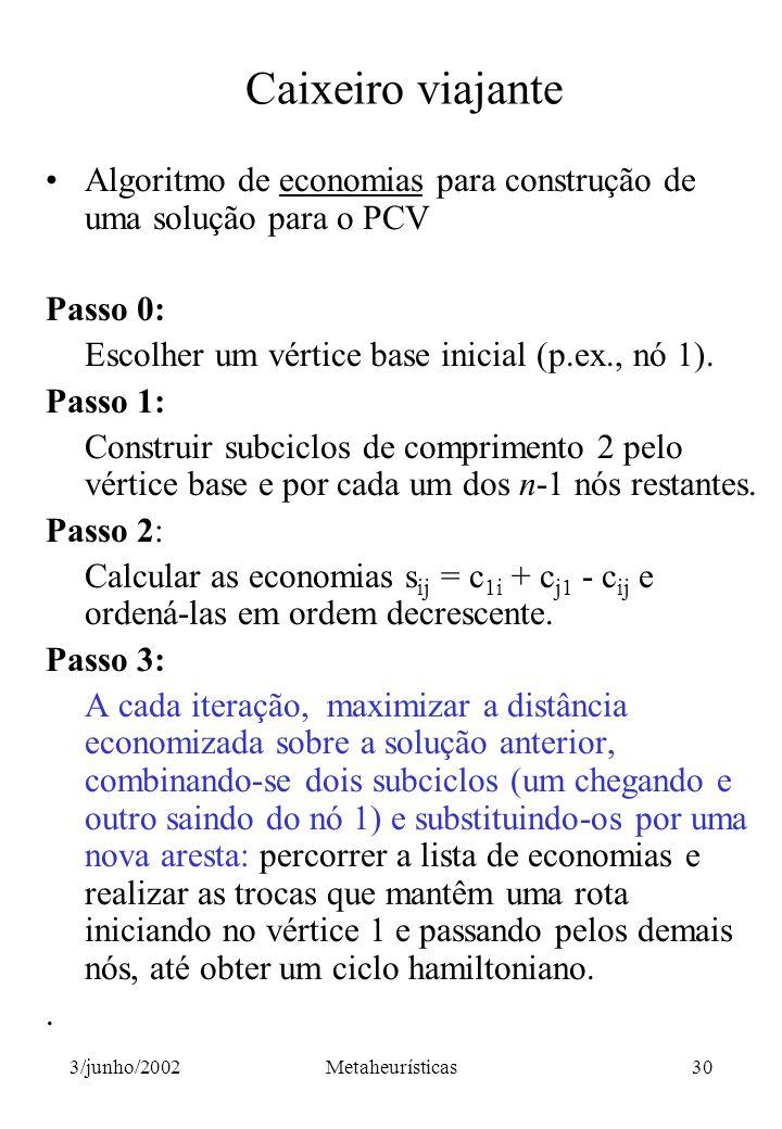 Caixeiro viajante Algoritmo de economias para construção de uma solução para o PCV. Passo 0: Escolher um vértice base inicial (p.ex., nó 1).