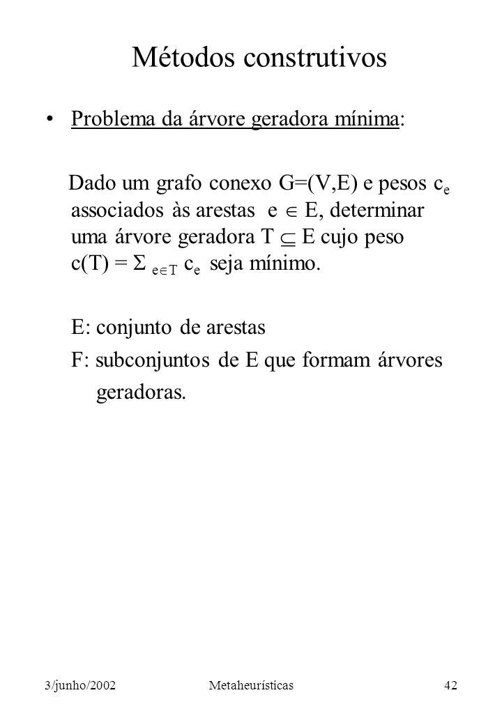 Métodos construtivos Problema da árvore geradora mínima: