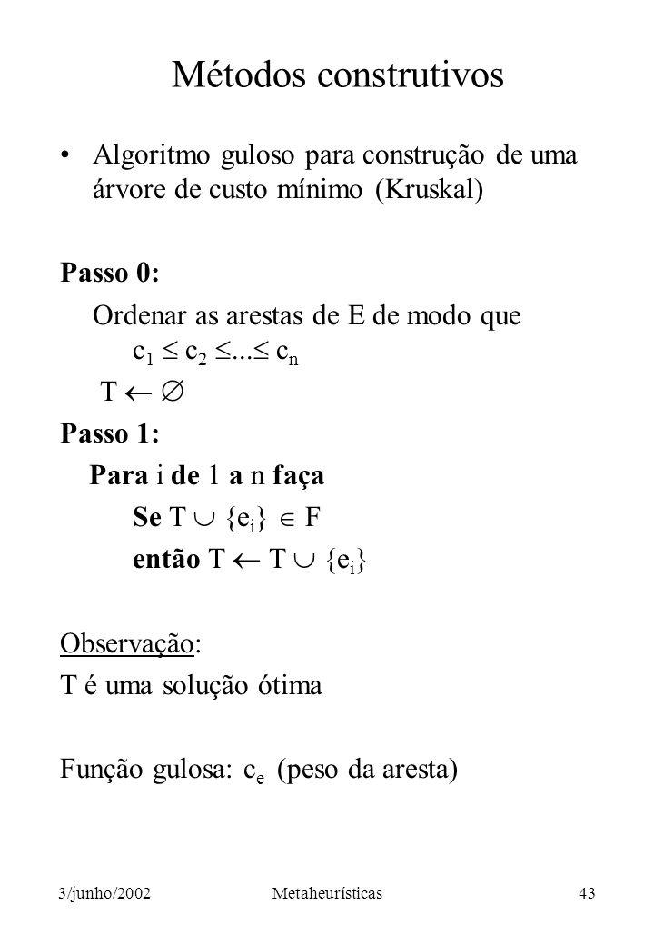 Métodos construtivos Algoritmo guloso para construção de uma árvore de custo mínimo (Kruskal) Passo 0: