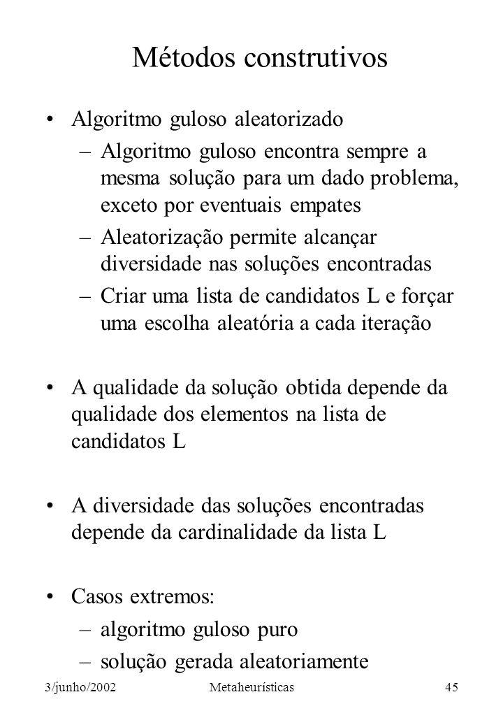 Métodos construtivos Algoritmo guloso aleatorizado