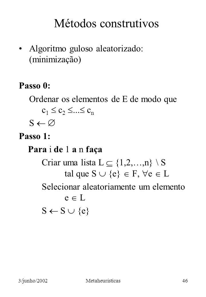 Métodos construtivos Algoritmo guloso aleatorizado: (minimização)