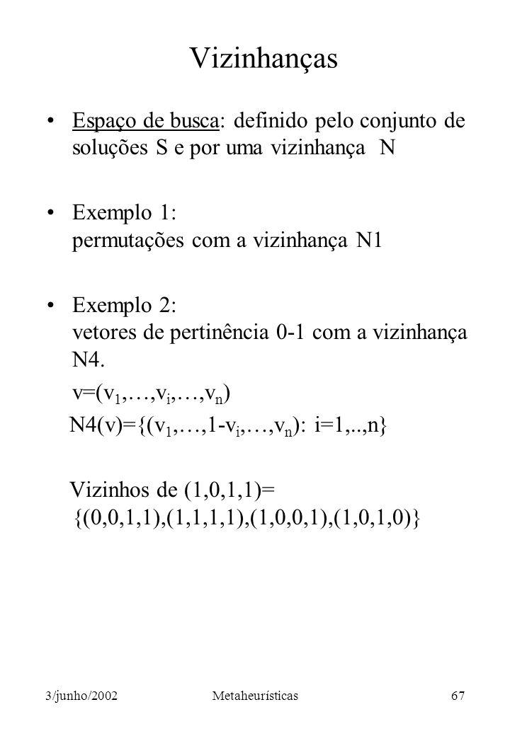 Vizinhanças Espaço de busca: definido pelo conjunto de soluções S e por uma vizinhança N.