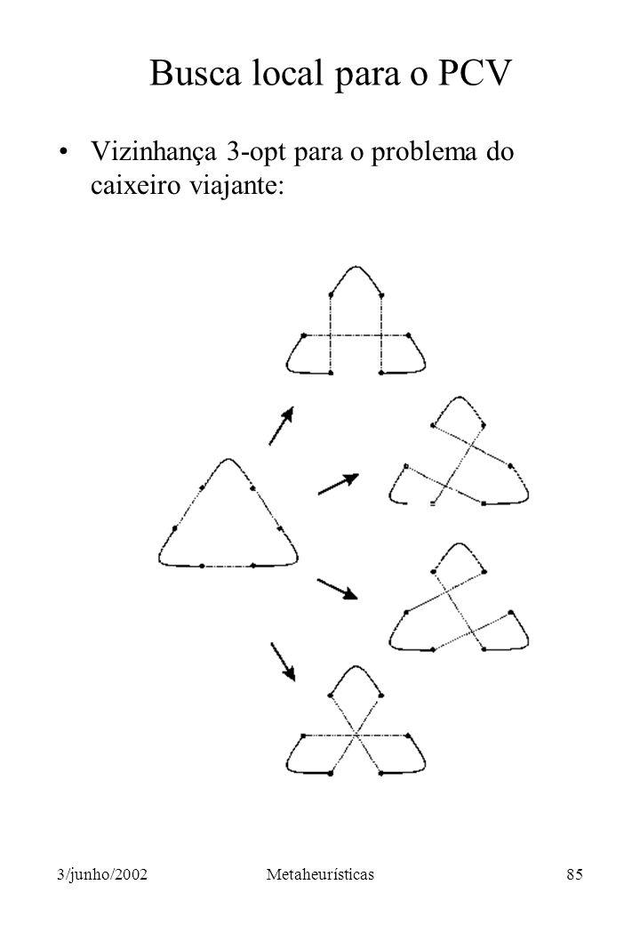 Busca local para o PCV Vizinhança 3-opt para o problema do caixeiro viajante: 3/junho/2002.