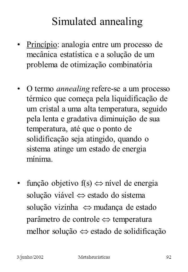 Simulated annealing Princípio: analogia entre um processo de mecânica estatística e a solução de um problema de otimização combinatória.
