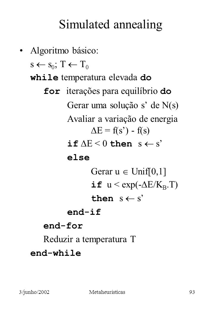 Simulated annealing Algoritmo básico: s  s0; T  T0
