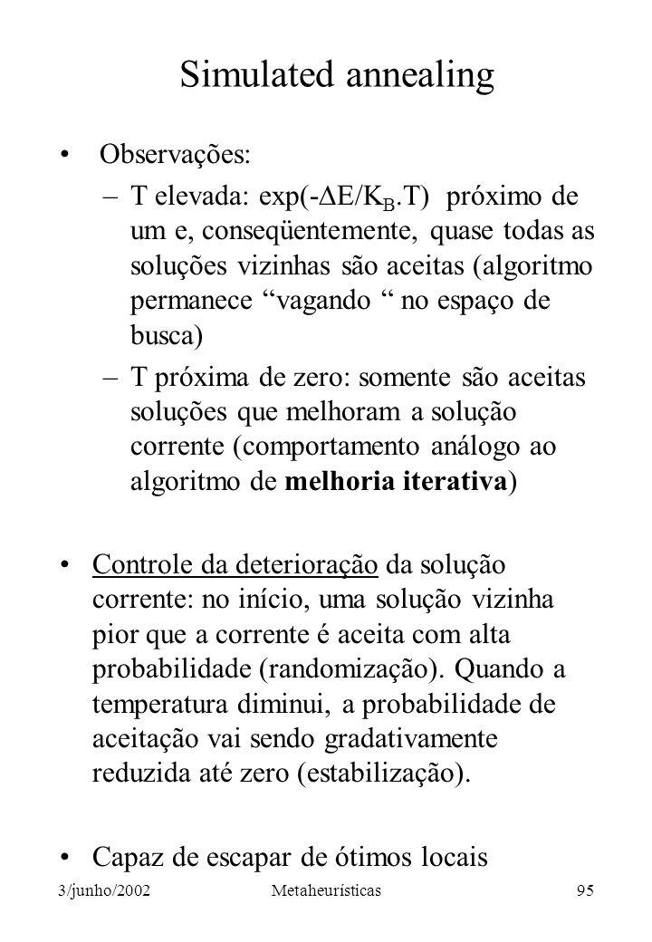Simulated annealing Observações: