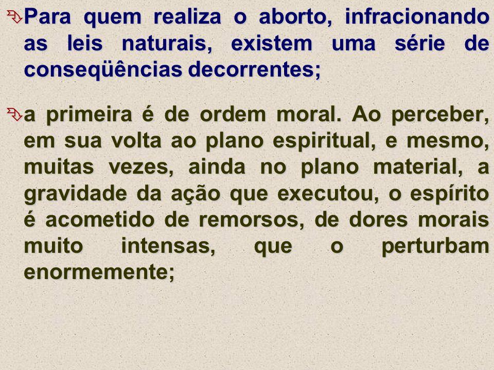 Para quem realiza o aborto, infracionando as leis naturais, existem uma série de conseqüências decorrentes;