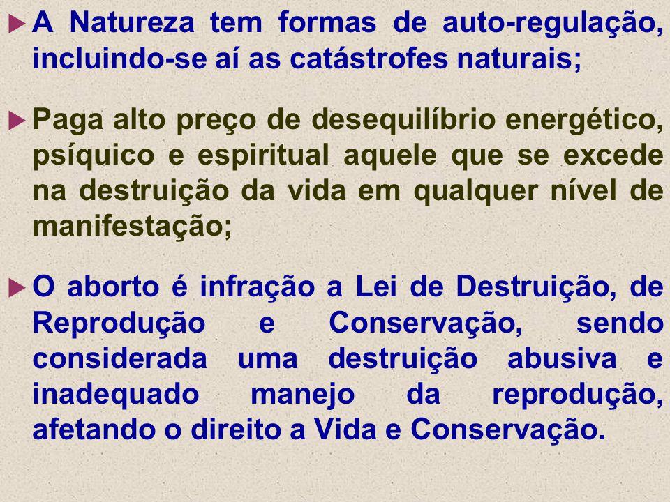 A Natureza tem formas de auto-regulação, incluindo-se aí as catástrofes naturais;