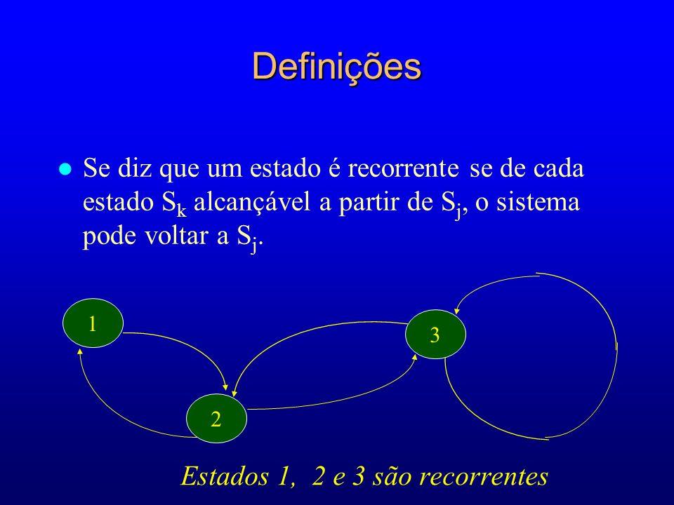 Definições Se diz que um estado é recorrente se de cada estado Sk alcançável a partir de Sj, o sistema pode voltar a Sj.