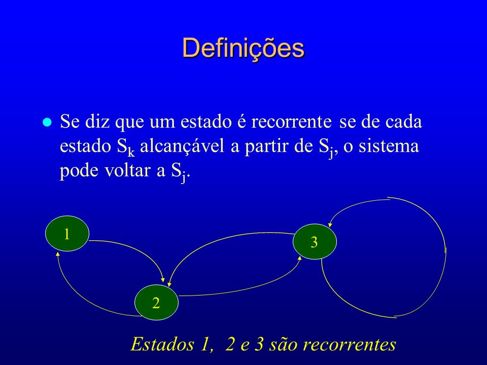 DefiniçõesSe diz que um estado é recorrente se de cada estado Sk alcançável a partir de Sj, o sistema pode voltar a Sj.