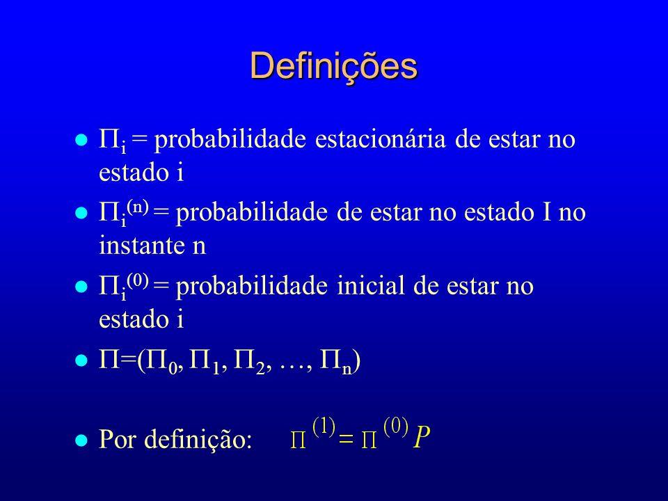 Definições i = probabilidade estacionária de estar no estado i