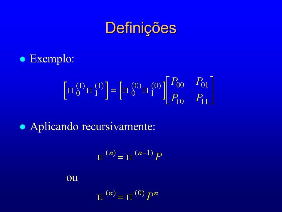 Definições Exemplo: Aplicando recursivamente: ou