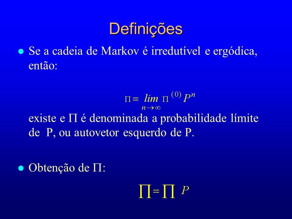 Definições Se a cadeia de Markov é irredutível e ergódica, então: