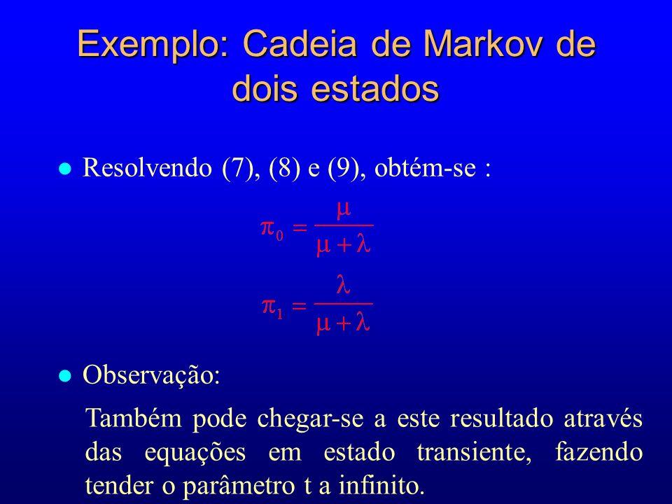 Exemplo: Cadeia de Markov de dois estados