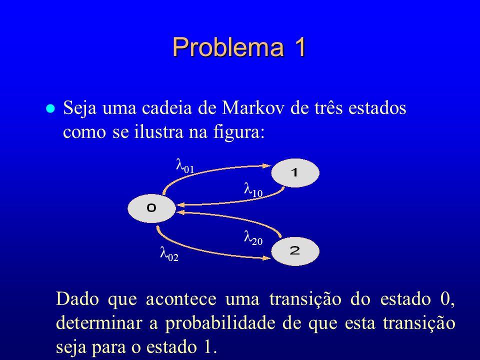 Problema 1 Seja uma cadeia de Markov de três estados como se ilustra na figura: 01. 10. 20. 02.