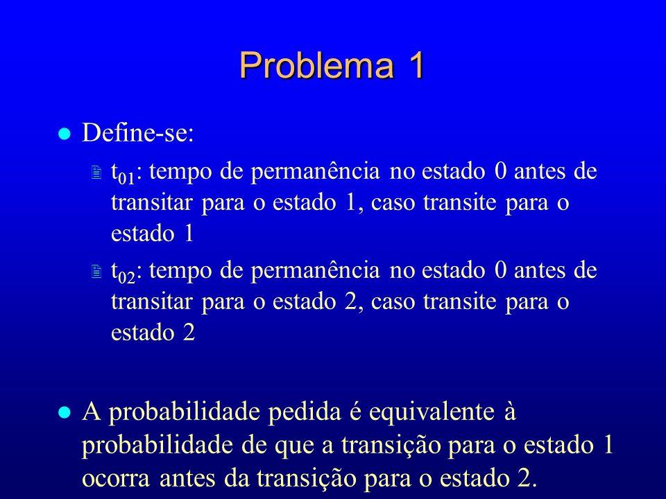 Problema 1Define-se: t01: tempo de permanência no estado 0 antes de transitar para o estado 1, caso transite para o estado 1.
