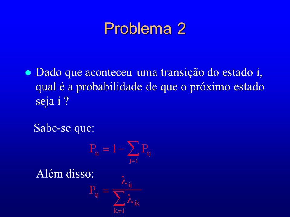 Problema 2 Dado que aconteceu uma transição do estado i, qual é a probabilidade de que o próximo estado seja i