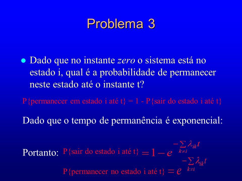 Problema 3 Dado que no instante zero o sistema está no estado i, qual é a probabilidade de permanecer neste estado até o instante t