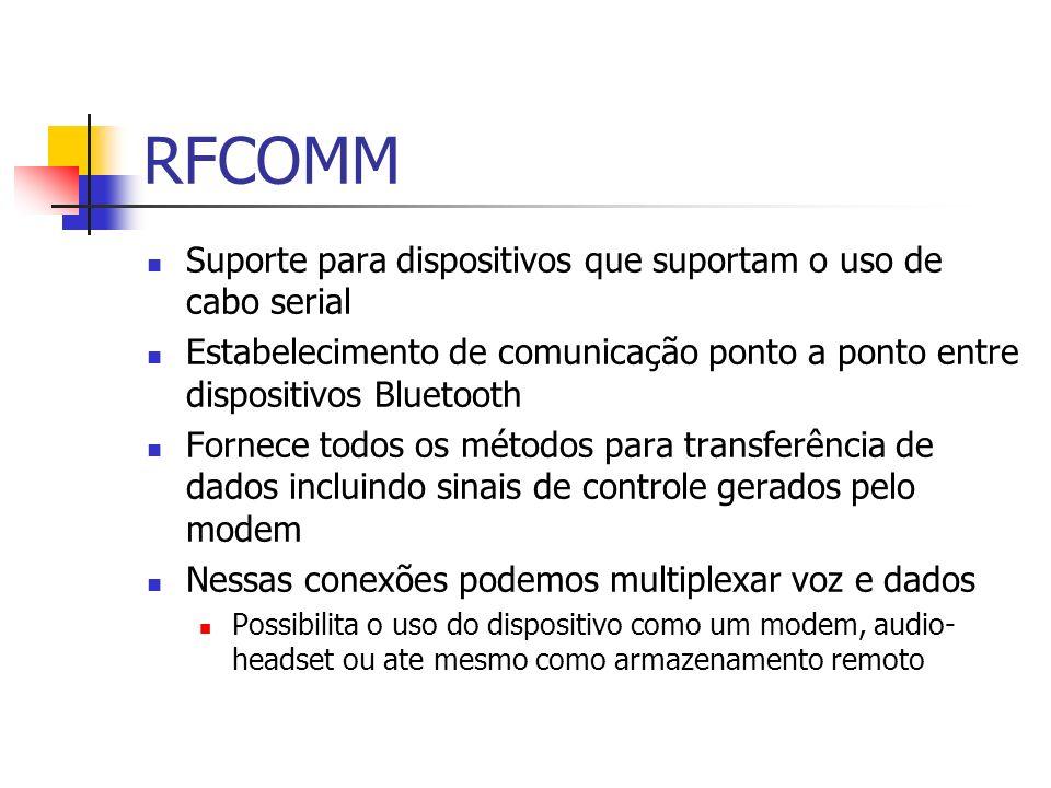 RFCOMM Suporte para dispositivos que suportam o uso de cabo serial