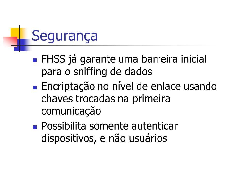 Segurança FHSS já garante uma barreira inicial para o sniffing de dados.