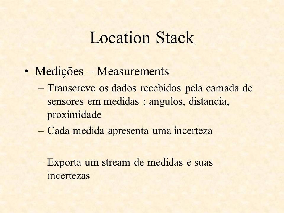 Location Stack Medições – Measurements