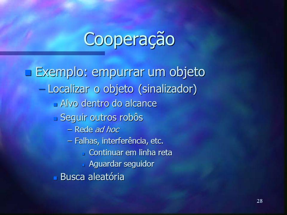 Cooperação Exemplo: empurrar um objeto