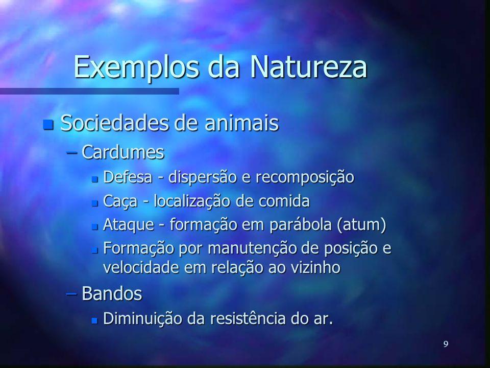 Exemplos da Natureza Sociedades de animais Cardumes Bandos